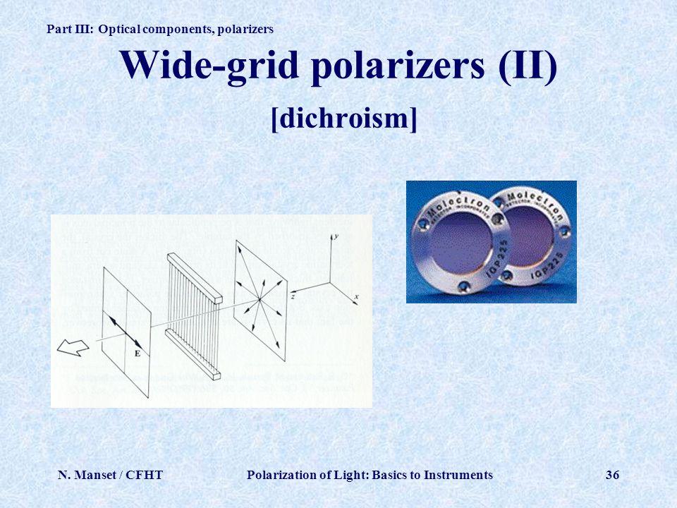 Wide-grid polarizers (II) [dichroism]